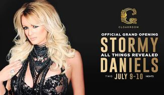 Adult film star Stormy Daniels returned to Washington, D.C., on Monday to perform in a local club. (Image courtesy of The Cloakroom)