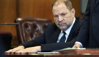 FILE - In this June 5, 2018 file photo, Harvey Weinstein appears in court in New York.  Weinstein, who was previously indicted on charges involving two women, was due in court on Monday, July July 9 for arraignment on charges alleging he committed a sex crime against a third woman. An updated indictment unveiled last week alleges the movie mogul-turned-#MeToo villain performed a forcible sex act on a woman in 2006. The new charges include two counts of predatory sexual assault, which carries a maximum sentence of life in prison upon conviction.  (Steven Hirsch/New York Post via AP, Pool)