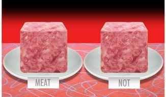 Illustration on meat substitutes by Alexander Hunter/The Washington Times
