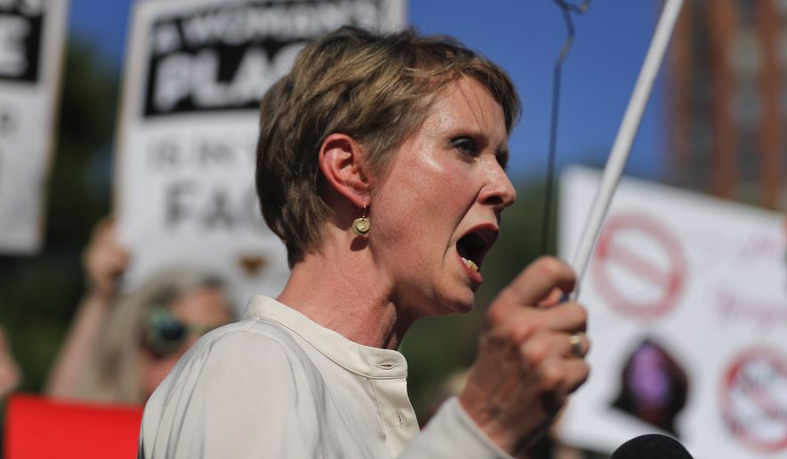 New York gubernatorial candidate Cynthia Nixon speaks during a pro-choice rally, Tuesday, July 10, 2018, in New York. Many Democrats and abortion-rights supporters believe a new conservative justice could tilt the court in favor of overturning Roe v. Wade. (AP Photo/Julie Jacobson) ** FILE **