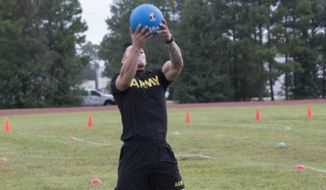 The U.S. Army will roll out its new fitness test by 2020. This image shows Staff Sgt. Joel Demillo performing the standing power throw event during a pilot for the Army Combat Fitness Test. (Image: U.S. Army)
