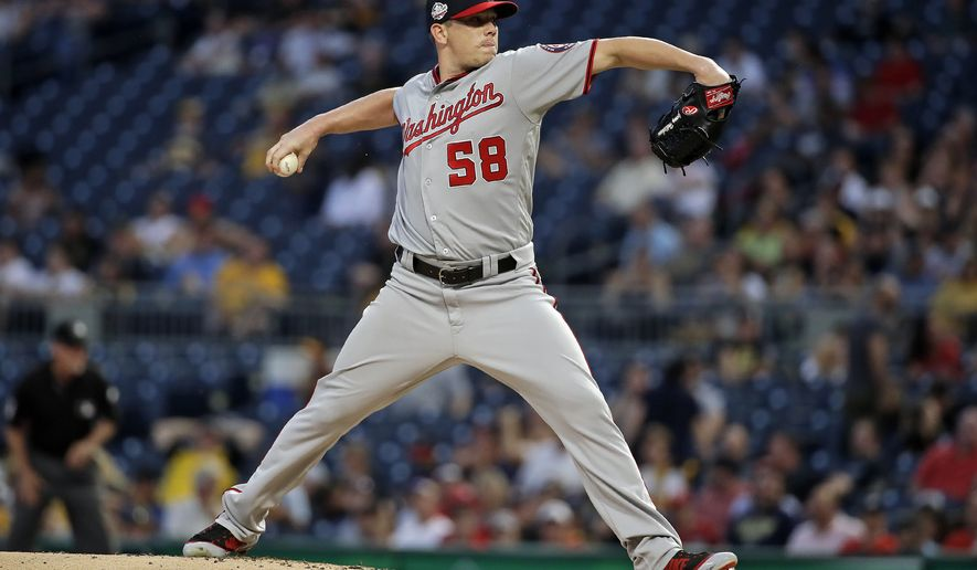 Washington Nationals starting pitcher Jeremy Hellickson delivers in the first inning of a baseball game against the Pittsburgh Pirates in Pittsburgh, Tuesday, July 10, 2018. (AP Photo/Gene J. Puskar)