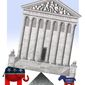Illustration on politics and the current Supreme Court situation by Alexander Hunter/The Washington Times