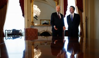 "Supreme Court nominee Brett Kavanaugh (right) met Wednesday on Capitol Hill with Sen. Orrin G. Hatch, Utah Republican, who called him ""a very fine man."" (Associated Press)"