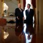 """Supreme Court nominee Brett Kavanaugh (right) met Wednesday on Capitol Hill with Sen. Orrin G. Hatch, Utah Republican, who called him """"a very fine man."""" (Associated Press)"""