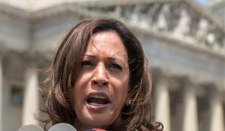 """The decision that one person makes on that court can have ramifications for the future of this country,"" said Sen. Kamala Harris, of California. (Associated Press)"
