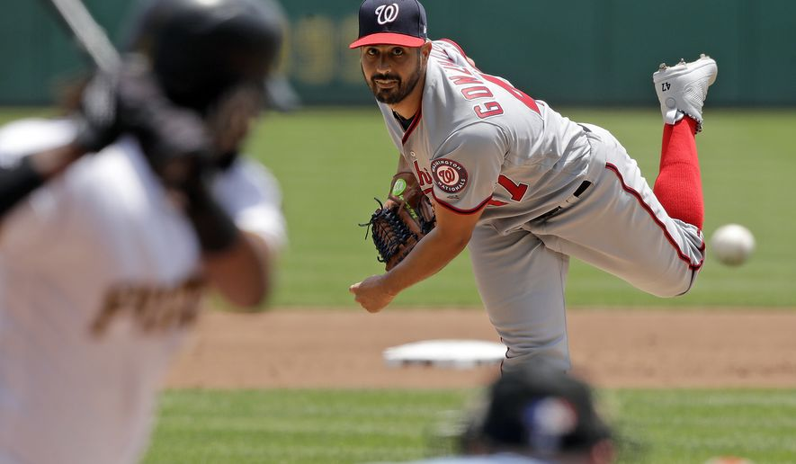 Washington Nationals starting pitcher Gio Gonzalez delivers in the second inning of a baseball game against the Pittsburgh Pirates in Pittsburgh, Wednesday, July 11, 2018. (AP Photo/Gene J. Puskar)