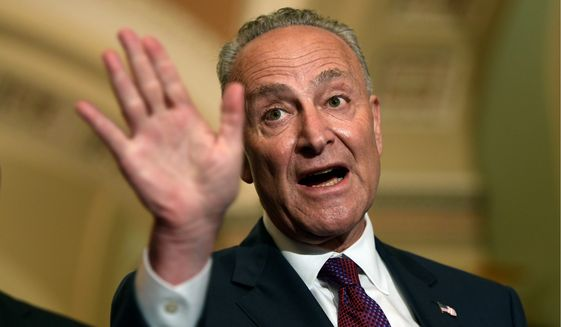 In this July 10, 2018, file photo, Senate Minority Leader Sen. Chuck Schumer of N.Y., speaks to reporters on Capitol Hill in Washington. (AP Photo/Susan Walsh)