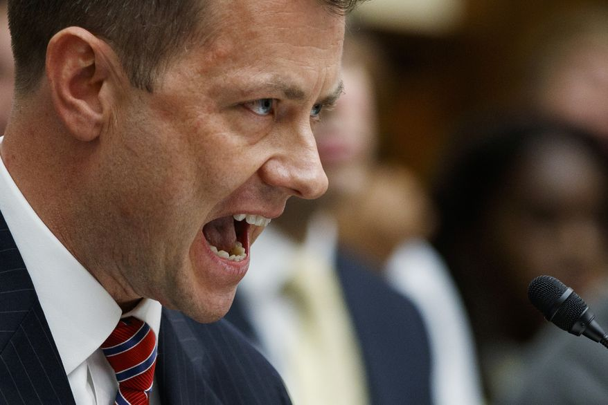 """FBI Deputy Assistant Director Peter Strzok testifies before the House Committees on the Judiciary and Oversight and Government Reform during a hearing on """"Oversight of FBI and DOJ Actions Surrounding the 2016 Election,"""" on Capitol Hill, Thursday, July 12, 2018, in Washington. (AP Photo/Evan Vucci) ** FILE **"""