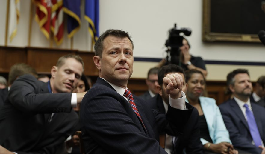 "FBI Deputy Assistant Director Peter Strzok is seated before the House Committees on the Judiciary and Oversight and Government Reform during a hearing on ""Oversight of FBI and DOJ Actions Surrounding the 2016 Election,"" on Capitol Hill, Thursday, July 12, 2018, in Washington. (AP Photo/Evan Vucci)"