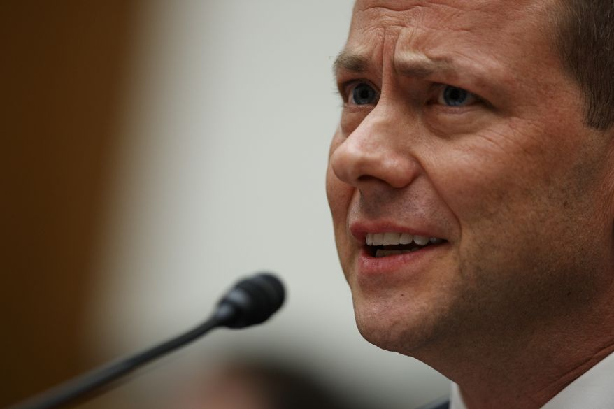 "FBI Deputy Assistant Director Peter Strzok testifies before the the House Committees on the Judiciary and Oversight and Government Reform during a hearing on ""Oversight of FBI and Department of Justice Actions Surrounding the 2016 Election,"" on Capitol Hill, Thursday, July 12, 2018, in Washington. (AP Photo/Evan Vucci)"