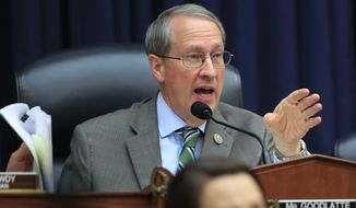 "House Judiciary Committee Chairman Bob Goodlatte, R-Va., questions witness FBI Deputy Assistant Director Peter Strzok, during a joint hearing on ""oversight of FBI and Department of Justice actions surrounding the 2016 election"" on Capitol Hill in Washington, Thursday, July 12, 2018. (AP Photo/Manuel Balce Ceneta)"