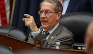 "Chairman of the House Judiciary Committee Rep. Bob Goodlatte, R-Va., questions FBI Deputy Assistant Director Peter Strzok during a hearing on ""Oversight of FBI and DOJ Actions Surrounding the 2016 Election,"" on Capitol Hill, Thursday, July 12, 2018, in Washington. (AP Photo/Evan Vucci)"
