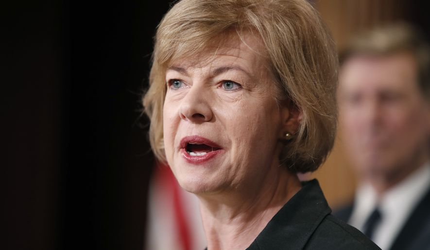 In this Tuesday, April 25, 2017, file photo, Sen. Tammy Baldwin, D-Wis., speaks on Capitol Hill in Washington. (AP Photo/Alex Brandon, File)