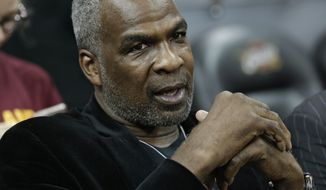 FILE - In this Feb. 23, 2017, file photo, former New York Knicks player Charles Oakley is shown before an NBA basketball game between the Knicks and the Cleveland Cavaliers, in Cleveland. Casino regulators in Nevada are accusing former New York Knicks star Charles Oakley of gambling fraud. The Nevada Gaming Control Board on Thursday, July 12, 2018, said Oakley was arrested Sunday at the Cosmopolitan casino-resort on the Las Vegas Strip on suspicion of committing or attempting to commit a fraudulent act in a gaming establishment. (AP Photo/Tony Dejak, File)