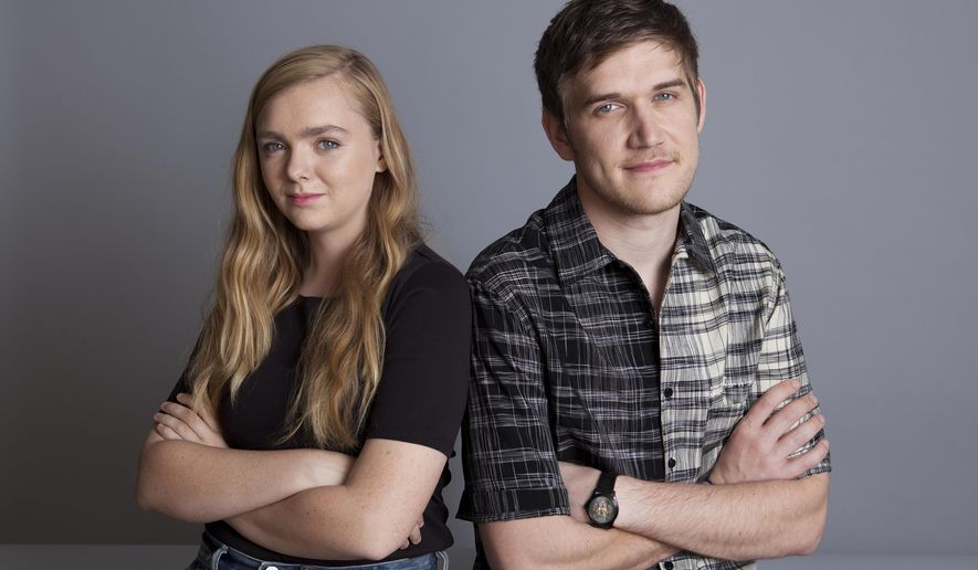 """In this June 20, 2018 photo, actress Elsie Fisher, left, and director Bo Burnham pose at the Four Seasons Hotel in Los Angeles to promote their new film """"Eighth Grade."""" (Photo by Rebecca Cabage/Invision/AP)"""