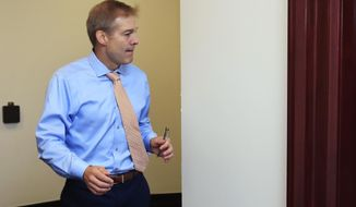 Rep. Jim Jordan, R-Ohio, arrives for a House Republican Conference meeting on Capitol Hill in Washington, Wednesday, July 11. (AP Photo/Manuel Balce Ceneta)