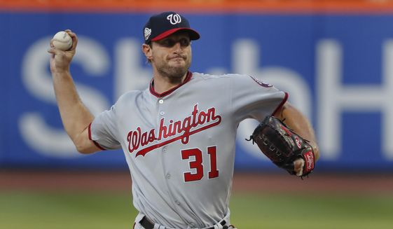 Washington Nationals starting pitcher Max Scherzer delivers against the New York Mets during the first inning of a baseball game Thursday, July 12, 2018, in New York.(AP Photo/Julie Jacobson)