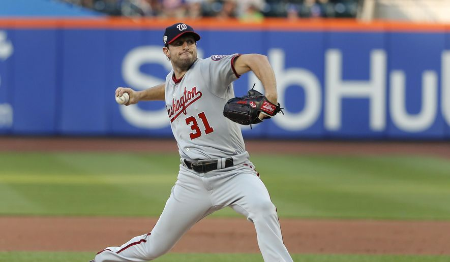 Washington Nationals starting pitcher Max Scherzer delivers against the New York Mets during the first inning of a baseball game Thursday, July 12, 2018, in New York. (AP Photo/Julie Jacobson) **FILE**