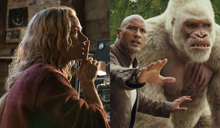 """Emily Blunt co-stars in """"A Quiet Place"""" and Dwayne Johnson works with his pal George the gorilla in """"Rampage,"""" both available on 4K Ultra HD."""