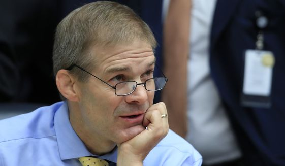 """Rep. Jim Jordan, R-Ohio attends a joint hearing on, """"oversight of FBI and Department of Justice actions surrounding the 2016 election"""" on Capitol Hill in Washington, Thursday, July 12. (AP Photo/Manuel Balce Ceneta)"""