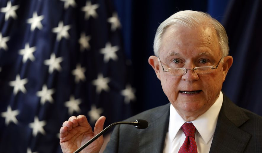 Attorney General Jeff Sessions delivers remarks on the opioid and fentanyl crisis, Friday, July 13, 2018, in Portland, Maine. (AP Photo/Robert F. Bukaty) ** FILE **