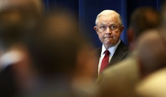 Attorney General Jeff Sessions arrives to deliver remarks on the opioid and fentanyl crisis, Friday, July 13, 2018, in Portland, Maine. (AP Photo/Robert F. Bukaty)