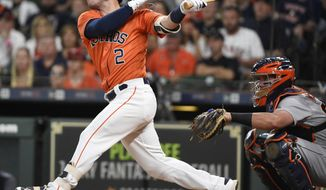 Houston Astros' Alex Bregman (2) hits a two-run home run off Detroit Tigers starting pitcher Mike Fiers during the first inning of a baseball game, Friday, July 13, 2018, in Houston. (AP Photo/Eric Christian Smith)