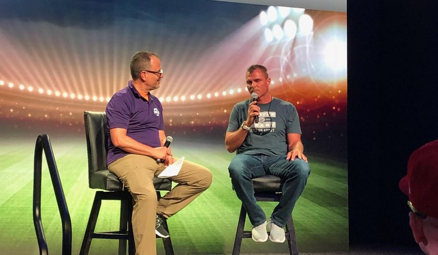 Former Major League Baseball player Rick Ankiel (right) talks about his career at MLB All-Star FanFest at the Walter E. Washington Convention Center in Washington, D.C. on Saturday, July 14, 2018. (Photo by Andy Kostka / The Washington Times)