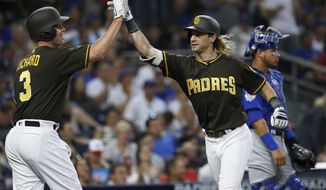 San Diego Padres' Travis Jankowskii, right, gets congratulations from Clayton Richard after hitting a two-run home run, near Chicago Cubs catcher Willson Contreras during the second inning of a baseball game in San Diego, Friday, July 13, 2018. (AP Photo/Alex Gallardo)