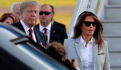 President Trump and first lady Melania Trump arrived in Helsinki on Sunday, the eve of Mr. Trump's highly anticipated summit with Russian President Vladimir Putin. (Associated Press)