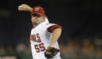 Washington Nationals pitcher Matt Capps delivers a pitch to the San Diego Padres during their baseball game at Nationals Park in Washington, Wednesday, July 7, 2010. (AP Photo/Susan Walsh) **FILE**