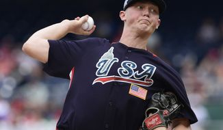 U.S. Team Mitch Keller, of the Pittsburgh Pirates, works in the first inning during the All-Star Futures baseball game, Sunday, July 15, 2018, at Nationals Park, in Washington. The the 89th MLB baseball All-Star Game will be played Tuesday. (AP Photo/Susan Walsh)