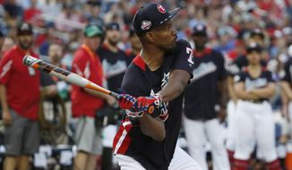 Jamie Foxx participates in the All Star MLB Celebrity Softball game, Sunday, July 15, 2018, at Nationals Park, in Washington. The the 89th MLB baseball All-Star Game will be played Tuesday. (AP Photo/Alex Brandon)