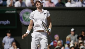 Kevin Anderson of South Africa loses a point to Novak Djokovic of Serbia in the men's singles final match at the Wimbledon Tennis Championships in London, Sunday July 15, 2018. (AP Photo/Tim Ireland, Pool)