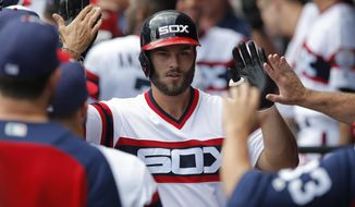 Chicago White Sox's Daniel Palka celebrates his two-run home run against the Kansas City Royals during the first inning of a baseball game Sunday, July 15, 2018, in Chicago. (AP Photo/Jim Young)
