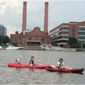 The Anacostia Riverkeepers takes kayakers out for a tour by the Yards Park Marina. This year, the nonprofit group is hoping to start sharing water quality data in a new app to explore the idea of taking swimmers into the river. (Anacostia RiverKeepers)
