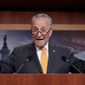 """""""When you just looked at the press conference, President Putin was the real victor,"""" said Senate Minority Leader Charles E. Schumer, of New York on Monday. (Associated Press photographs)"""