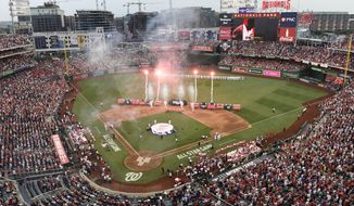 Fireworks are displayed before the MLB Home Run Derby, at Nationals Park, Monday, July 16, 2018 in Washington. The 89th MLB baseball All-Star Game will be played Tuesday. (AP Photo/Susan Walsh) **FILE**