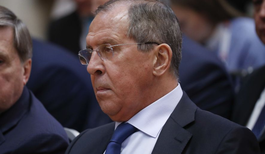 Russian Minister of Foreign Affairs Sergey Lavrov at the joint news conference between U.S. President Donald Trump and Russian President Vladimir Putin at the Presidential Palace in Helsinki, Finland, Monday, July 16, 2018. (AP Photo/Pablo Martinez Monsivais) ** FILE **