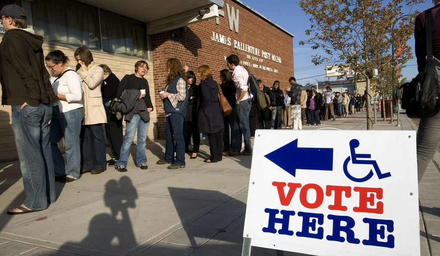 This Nov. 4, 2008, photo provided by MinnPost shows young voters waiting to cast ballots at a polling place in Minneapolis. If millennials, currently ages 22 to 37, vote this year, they could help sway the outcome of several different elections in Minnesota. November's election is projected to be the country's first in which there are more millennials eligible to vote than baby boomers. (Bill Kelley/MinnPost via AP)