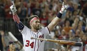 Washington Nationals Bryce Harper (34) reacts to his winning hit during the Major League Baseball Home Run Derby, Monday, July 16, 2018 in Washington. (AP Photo/Alex Brandon) ** FILE **