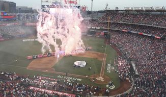 Fireworks are displayed before the MLB Home Run Derby, at Nationals Park, Monday, July 16, 2018 in Washington. The 89th MLB baseball All-Star Game will be played Tuesday. (AP Photo/Susan Walsh)