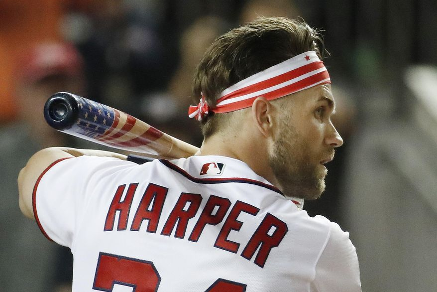 Washington Nationals Bryce Harper (34) waits for his pitch during the MLB Home Run Derby, at Nationals Park, Monday, July 16, 2018 in Washington. The 89th MLB baseball All-Star Game will be played Tuesday. (AP Photo/Alex Brandon) ** FILE **