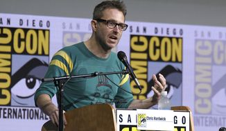 """FILE - In this July 21, 2017 file photo, Chris Hardwick moderates the """"Fear The Walking Dead"""" panel at Comic-Con International in San Diego. Hardwick, a mainstay at Comic-Con and moderator of numerous panels, stepped aside from moderating AMC and BBC America panels amid allegations from an ex-girlfriend, which Hardwick has denied. (Photo by Al Powers/Invision/AP, File)"""