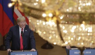U.S. President Donald Trump speaks during a press conference after the meeting of U.S. President Donald Trump and Russian President Vladimir Putin at the Presidential Palace in Helsinki, Finland, Monday, July 16, 2018. (AP Photo/Markus Schreiber)