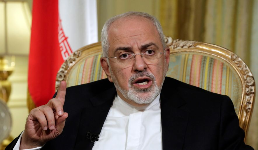In this April 24, 2018, file photo, Iran's Foreign Minister Mohammad Javad Zarif is interviewed by The Associated Press, in New York. (AP Photo/Richard Drew, File)