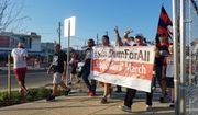 """Fans of the Major League Soccer club D.C. United take part in a """"Supporters' March"""" in Washington, D.C. on Saturday, July 14, 2018. They protested a ticketing arrangement at Audi Field they felt excluded members of the supporters' groups La Barra Brava and District Ultras."""