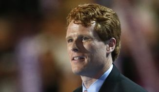 In this July 25, 2016, file photo, Rep. Joe Kennedy, D-Mass., speaks during the first day of the Democratic National Convention in Philadelphia. (AP Photo/Paul Sancya, File)