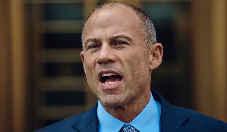 Michael Avenatti, attorney and spokesperson for adult film actress Stormy Daniels speaks during a news conference at Federal court, Friday, April 13, 2018, in New York. A hearing has been scheduled before U.S. District Judge Kimba Wood to address President Donald Trump's personal attorney, Michael Cohen's request for a temporary restraining order related to the judicial warrant that authorized a search of his Manhattan office, apartment and hotel room this week. (AP Photo/Andres Kudacki)